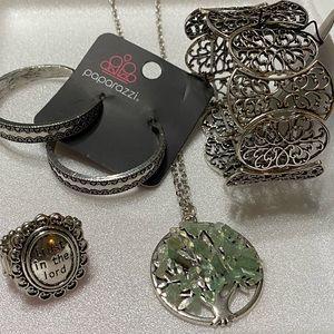 Paparazzi Jewelry 4-Piece Silver/Green Set